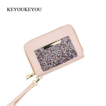 KEYOUKEYOU Double Zip Around Long Women Wallets With Card Holder Small Women Leather Wallet Glitter Ladies Money Bag Coin Purse