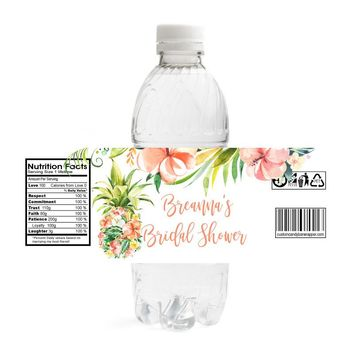 Tropical Bridal Shower Water Bottle Labels