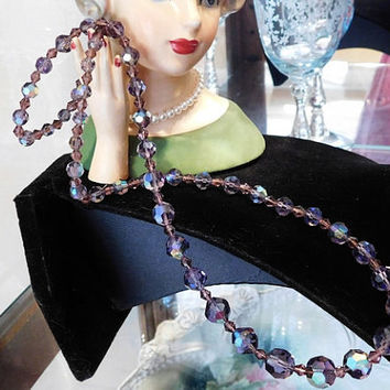 "Swarovski Crystal Necklace Austria Austrian Glass Crystal AB Rhinestones 1950s 50s Mid Century MidCentury Matinee 24"" Length Lilac Lavender"