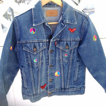 Levi Jean Jacket - Vintage Levi Jacket Sequined And Patch -Decorated Jean Jacket Sz Small - Distressed Jean Jacket With Peace Signs - Gift