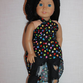 18 inch doll clothes, high low heart print dress/shirt, dark wash ripped skinny jeans,beret style slouch hat, belt , Upbeat Petites