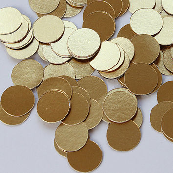 100 Circle Metallic Gold Paper Die Cut Confetti