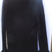 Vintage Woman's Sweater Black Heirloom Collectibles with Fringe size Medium Acrylic and Polyester.  Perfect for the Cold Months Ahead.