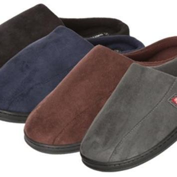 James Fiallo Men's Suede Slip-on Slippers with Side Stitching Size S-XL - CASE OF 24