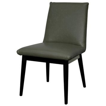 Pietra Bonded Leather Chair Black Legs, Vintage Gray (Set of 2)