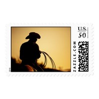 Horse Rider and Rope into the Sunset Postage