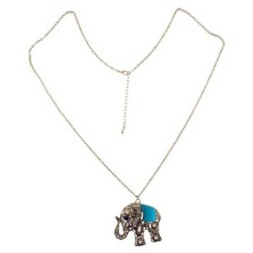 Elephant Pendant Oval Link Chain Necklace - Blue/Gold