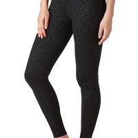 Legging With Brocade Pattern - Black