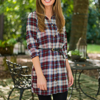 The Days Of Plaid Dress, Wine-Navy