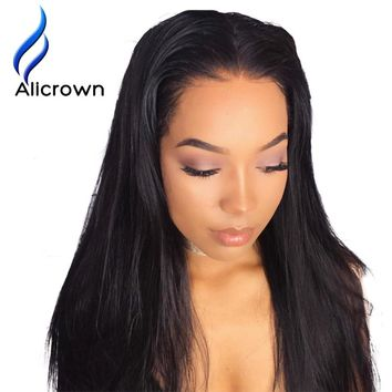 "Alicrown Lace Front Human Hair Wigs Bleaches knots Straight Brazilian Remy Hair Wig 10-24""Pre Plucked Natural Hairline"