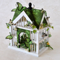 Bird House with Butterflies  - Shamrock Green with Peridot Butterflies and Flowers