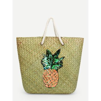 Pineapple Pattern Straw Tote Bag - Purse - Large Bag - Beach Bag