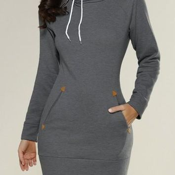 New Women Dark Grey Plain Pockets Side Zipper Hooded Cowl Neck Sweatshirt Mini Dress