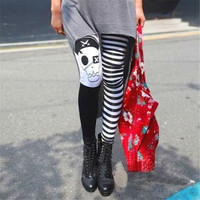 FD4524 new Women Girl Rock Punk Funky Gothic Pirates Skull Leggings Pants Casual