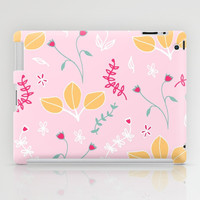 Pink Flowers, Orange Leaves Floral Pattern iPad Case by Karin Lauria