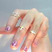 Cross Knuckle Ring Layering Above the knuckle by RawEarthStudio
