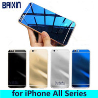 2pcs/lot Front+Back For iPhone 4 4s 5 5s 6 6s 6plus 6 Case Screen Protector Tempered Glass Mirror Effect Color Protective Film