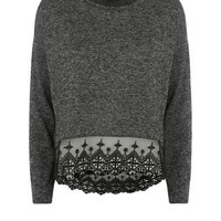 Dark Grey Fine Knit Embroidered Hem Long Sleeve Top