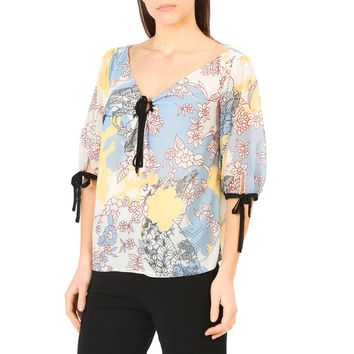 Annarita N Yellow Sleeves Floral Print Shirt