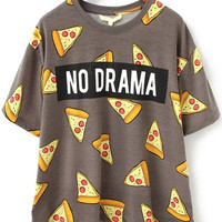 Multi Colored No Drama Pizza Printes Loose T-Shirt