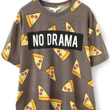 No Drama Pizza Print Short Sleeve T-shirt