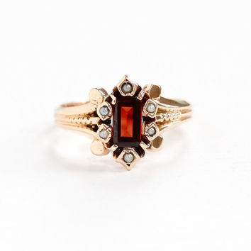Antique 10k Rose Gold Garnet & Seed Pearl Ring - Size 6 3/4 Victorian Era 1880s Red Gemstone Fine Statement January Birthstone Jewelry