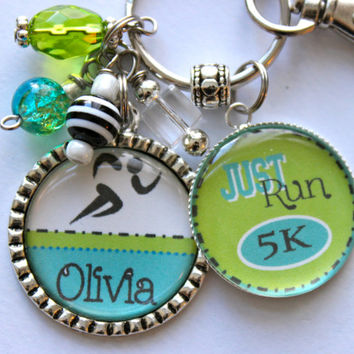 "Marathon Runner Gift Keychain Personalized Run 5k, 10k 13.1"" Friend Mom, Teenager, Cousin, Aunt, Nana, Child, CoWorker lime green and teal"