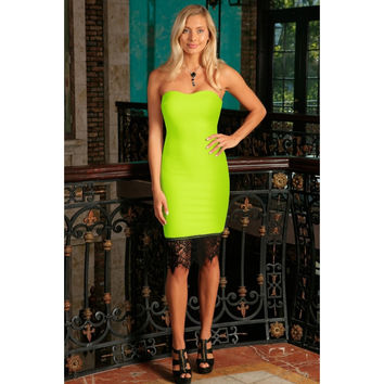 Neon Yellow Strapless Sweetheart Bodycon Summer Party Dress - Women