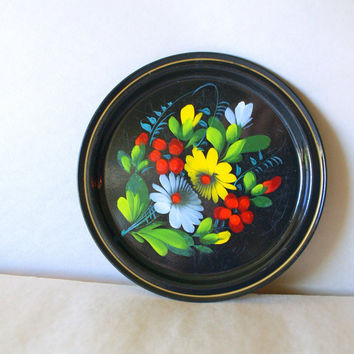 40s RUSSIAN TOLE PLATE // Antique Ueha // Hand Painted Folk Art Forties Floral Black Metal // Red Yellow Green Flowers Toleware Jewelry Tray