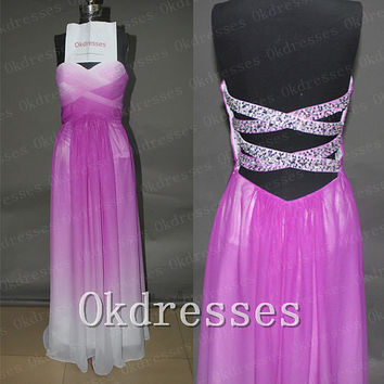 Custom Made Purple Ombre Chiffon Open Back Prom Dress,Fashion Beads Ombre Backless Long Evening Dress,Cheap Prom Gown,Ombre Graduation Dress