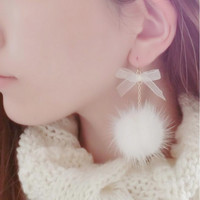 FUZZY DROP EARRINGS