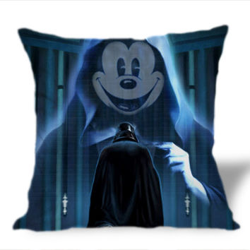Darth Vader Mickey on Square Pillow Cover