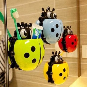 VONC1Y Cute Ladybug Insect Toothbrush Wall Suction Bathroom Sets Cartoon Sucker Toothbrush Holder / Suction Hooks