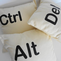 Control Alt Delete Throw Pillow Covers, Set of 3, Ctrl Alt Del Decorative Pillow Covers, Keyboard, 16x16