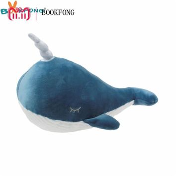Narwhal Whale Plush Toy Lovely Unicorn Whale Doll Soft Stuffed Fish Marine Animal Toys for Children Birthday Gift 26-60cm