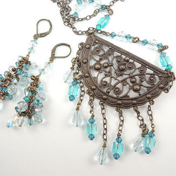 Sea Blue Green Necklace and Earring Set, Swarovski Crystals