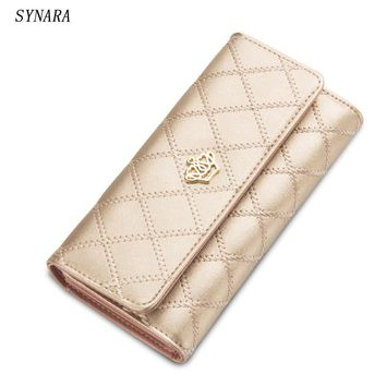 2016 new elegant fashion women wallets geometry cutout gold bordered design women's long wallet clutch women purse free shipping
