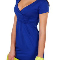Blue Short Sleeve Ruched Bodycon Mini Dress