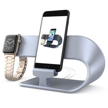 VONL8T Apple Watch iPhone Charging Stand for iPhone X/8/8 Plus/7/7 Plus/6/6S/6S Plus/5/5S/5C and iWatch Series 3/2/1 All Models, hooroor 2 in 1 Charging Dock Station Silver (Not a Wireless Charging Station)