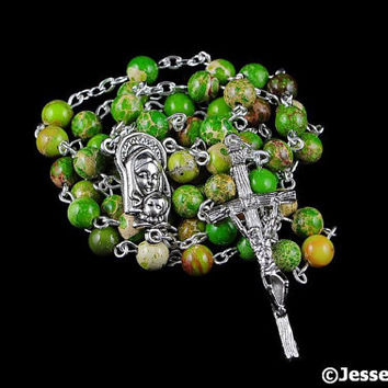 Catholic Rosary Beads Green Tan Impression Jasper Natural Stone Silver Traditional Five Decade Small Bead Rosary