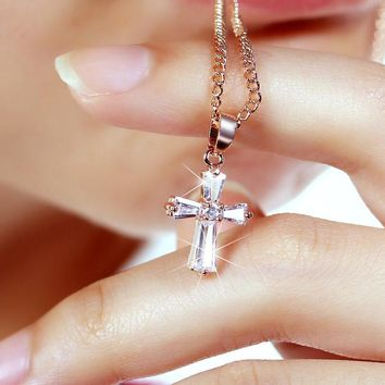 Rose Gold silver Cross Pendant Necklace