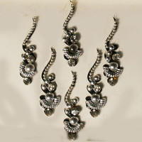 Pretty Dramatic Silver Swirl & Curved  Moon Bindi with Crystal with Black Background.