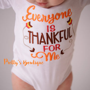 Boys Thanksgiving shirt -- Everyone is Thankful for me Shirt/Bodysuit -- Boys Thanksgiving outfit-- Turkey Shirt-- Fall Boys shirt