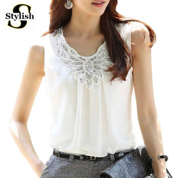 Chiffon Tank Elegant Sequined Pearl Embroidery Summer Autumn Basic Top