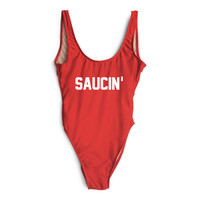 US Size S-XL SAUCIN' Bodysuit Funny Swimsuit One-Piece Swimwear Women Sexy bathing suit Swim Suits Jumpsuits Rompers Beachwear