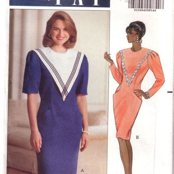 Vintage Butterick 5308, Designer Leslie Fay, Misses Dress, Size 14, 16, 18