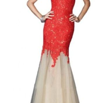 Sunvary Fancy Mermaid Lace Prom Dress Pageant Dress for Evening Long - US Size 2- Red