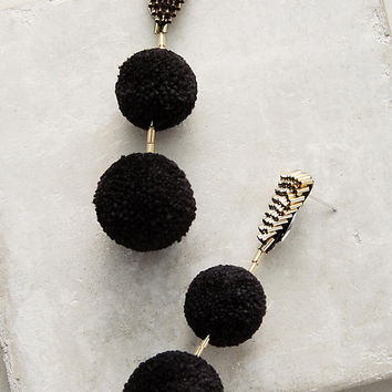 Double Pom Pom Drop Earrings