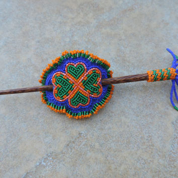 Orange and Green Clover Hair Stick