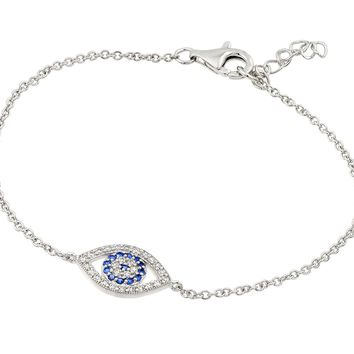 .925 Sterling Silver Rhodium Plated Cubic Zirconia Evil Eye Bracelet
